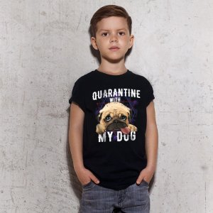 Camiseta Infantil Quarantine With My Dog