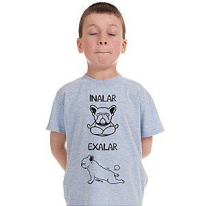 Camiseta Infantil Cachorro Yoga Inalar e Exalar