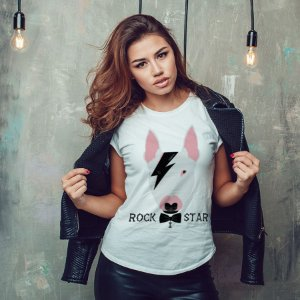Camiseta Baby Look Bull Terrier Rock Star