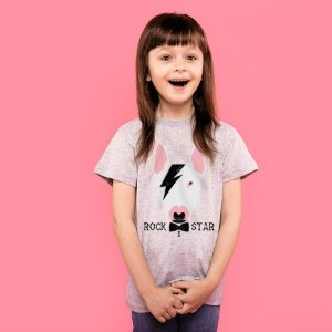 Camiseta Infantil Bull Terrier Rock Star