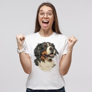 Camiseta Baby Look Bernese Ilustração Realista