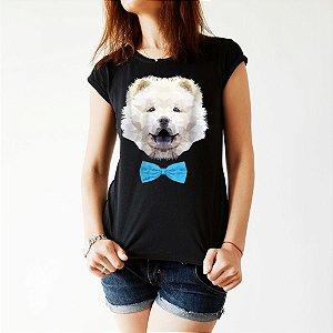 Camiseta Baby Look Chow Chow Creme de Gravatinha