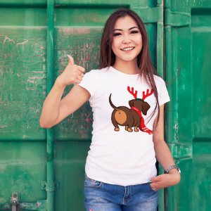 Camiseta Baby Look Dachshund Natal