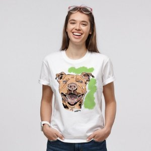 Camiseta Baby Look Pitbull Pintura Digital