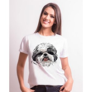 Camiseta Baby Look Shih Tzu Pintura Digital