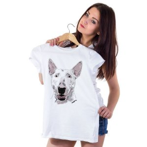 Camiseta Baby Look Bull Terrier Pintura Digital