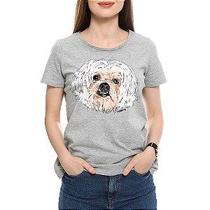 Camiseta Baby Look Lhasa Apso Pintura Digital