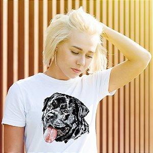 Camiseta Baby Look Rottweiler Cara Preta Pintura Digital