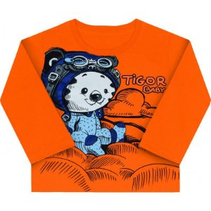 Camiseta Manga Longa Baby - Laranja - Ref. 10204651 - Tigor T. Tigre 4bb4e7115c459