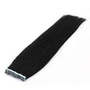 Mega Hair Fita Adesiva Castanho Liso Natural 60cm 10 Peças  25 Gramas