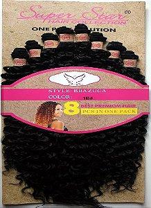 Cabelo Fibra Orgânico Cacheado Mega Hair Brazuca 60cm cor 1 B