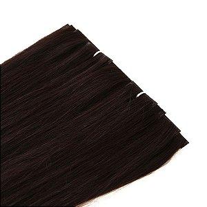 Mega Hair Fita Adesiva Invisivel Castanho 60cm kit Cabeça Inteira 10 Peças com 150gramas