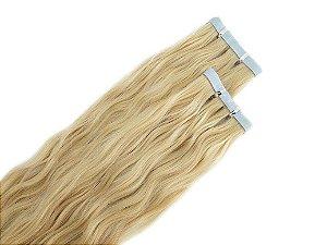 Mega Hair Cabelo Humano Na Fita Adesiva Loiro Ondulado 60cm - 1 Tela
