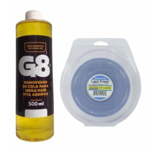 Kit Removedor Refil G8 500ml + Fita Dpla Face Lace Front 36 yards