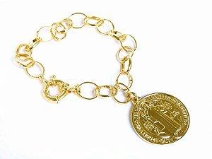 Pulseira folheada a ouro com medalha de São Bento