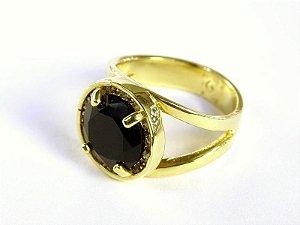 Anel folheado a ouro com pedra ônix