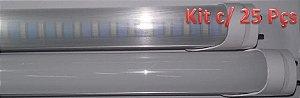 Kit c/ 25 Lâmpadas LED Tubular T8 8W Econômica - 60cm