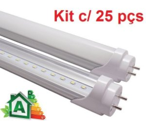 Kit c/ 25 Lâmpadas LED Tubular T8 18W Platinum - 120cm