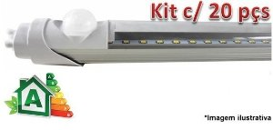 Kit c/ 20 Lâmpadas LED Tubular T8 10W c/ Sensor de Presença - 60cm