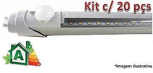 Kit c/ 20 Lâmpadas LED Tubular T8 20W c/ Sensor de Presença - 120cm