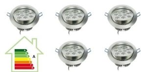 Kit com 10 unid. 12w Spot Super Led Teto Direcional Alumínio Bivolt - Branco Frio