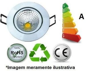 Luminária de Embutir Led COB Glass DownLight 7W 110/270V