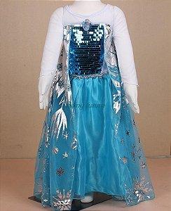 Vestido Elsa Congelante, modelo Luxo - Pronta entrega!