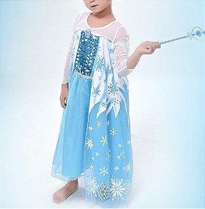 Vestido Elsa Luxo Azul, 2 a 3 anos