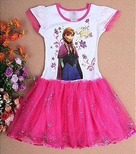 Vestido Princesa Anna, Saia Filó Rosa - Pronta entrega!
