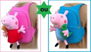 Mochila Peppa Pig Pelúcia  OU  Mochila George Pig Pelúcia - Pronta Entrega!