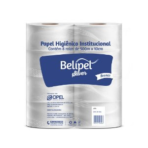 PAPEL HIG. INST. BELIPEL SILVER BRANCO C/ 08 RL x 300M - FOLHA SIMPLES