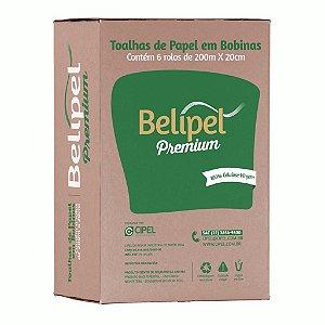 TOALHA BOBINA BELIPEL PREMIUM 100% CEL C/ 06 X 20 CM X 200 MTS - LX