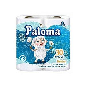 PAPEL HIGIENICO FOLHA SIMPLES PALOMA 04 ROLOS X 30 METROS