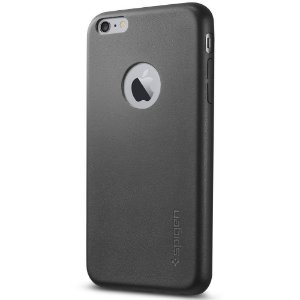 Case Spigen Couro Slim Preto iPhone 6s 6 Plus Capa Fina