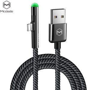 Cabo Lightning USB 90 graus 1.2m com LED Mcdodo para iPhone iPad Homologado Apple
