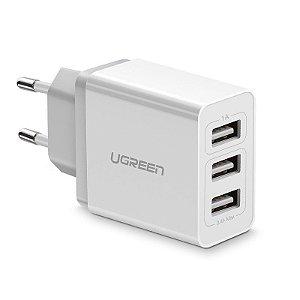 a02fa05d3 CARREGADOR DE PAREDE UGREEN 15W 3 PORTAS USB 3.1A ED013 - BRANCO