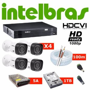 Kit Cftv Dvr Intelbras + 4 Cameras Hdcvi 1120b + 1tb Nota