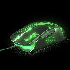 Mouse Gamer Usb Raptor Preto/verde Fortrek