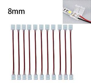 Emenda Conector Com Fio Fita Led 3528 2 Vias Click Larg 8mm