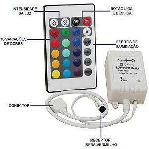 Controlador + Controle 24 Teclas Para Fita Led RGB 5050 e 3528