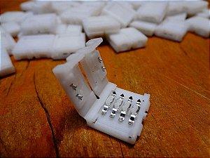 Conector Emenda Para Fita Led Rgb 5050/3528 4 Vias 10mm Largura