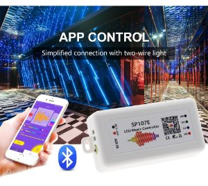 Controladora Sp107e Bluetooth Music Ws2811, Ws2812b e RGB Digital 6803 133 e 328 Efeitos, Etc 5-24v