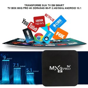 Transforme sua TV em Smart TV BOX MXQ PRO 4K DDR4/64G WI-FI 2.4G/5GHz ANDROID 10.1