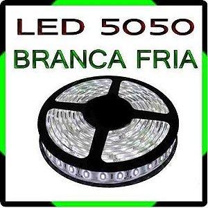 Fita Led 5050 Branca Rolo 5m Siliconada Dupla Face 300 Leds + Fonte