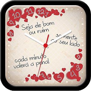 Relógio de Parede divertido - Somente com você cada segundo vale a pena