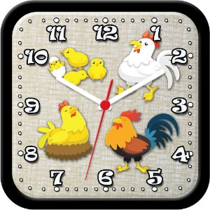 Relógio de parede divertido - Galo, galinhas e pintinhos