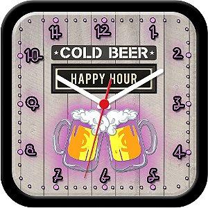 Relógio de parede divertido - Cold Beer - Happy Hour