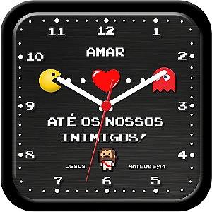 Relógio de parede Divertido - Amar até os nossos inimigos - Jesus - Pac Man