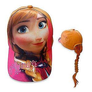 Boné Frozen Anna Com Aplique De Trança