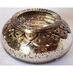 Vaso de vidro prata pequeno